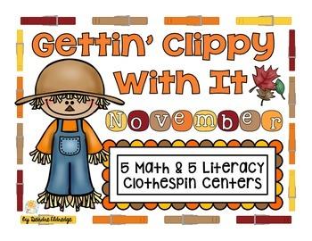 """Gettin' Clippy With It"" November- 5 Math & 5 Literacy Clo"