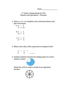 Getting Ready for FSA 4th Grade Math (Fractions)