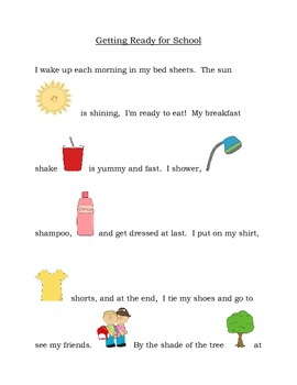 Getting Ready for School -  articulation story with initial /sh/