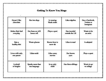 Getting To Know You Bingo