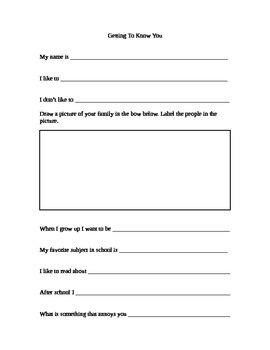Getting To Know You Sheet