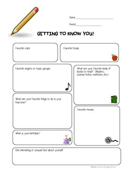 Getting To Know You Survey - ELA/Reading class