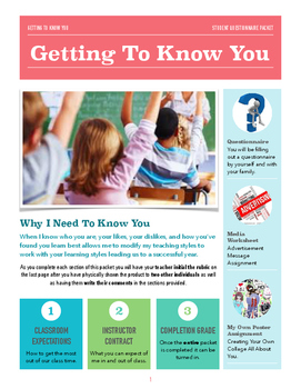 Getting To Know Your Students Activity Packet