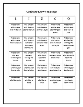 Getting to Know You Bingo Ice Breaker
