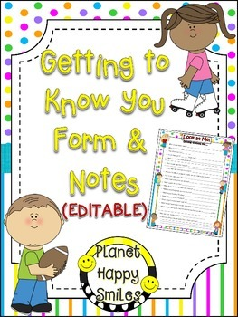 Getting to Know You Form & Card (EDITABLE) ~ Bright Polka