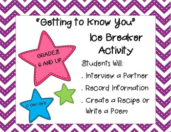 Getting to Know You Ice Breaker; Back to School - Middle a