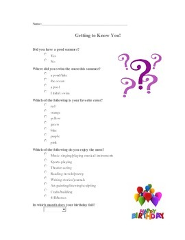 Getting to Know You Survey