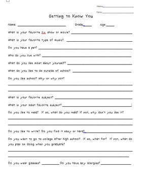 Getting to Know You and Interest Inventory Worksheet