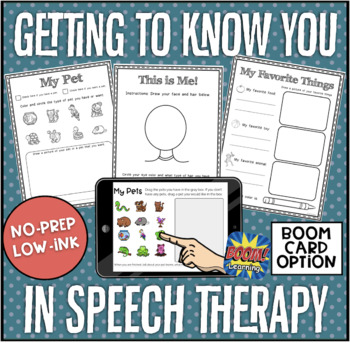 Getting to Know You in Speech Therapy No-Prep! Print & Go!