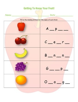 Getting to Know Your Fruit...a nutrition activity sheet