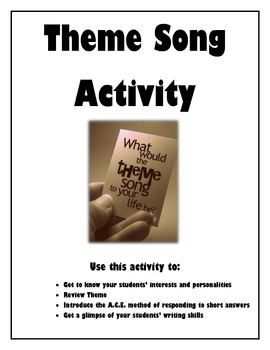 Getting to Know Your Students- Theme Song Activity (Englis