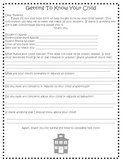 """""""Getting to know your child"""" - Parent Form for the Beginni"""