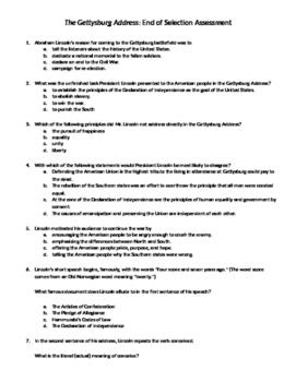 Gettysburg Address End of Selection Assessment