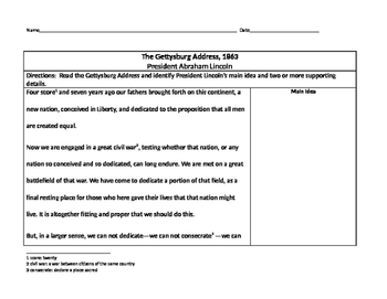 Gettysburg Address - Main Idea & Supporting Evidence