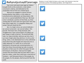 Gettysburg Address Tweet Sheet