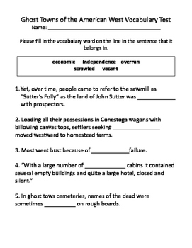 Ghost Towns of the American West Vocabulary Test and Vocab