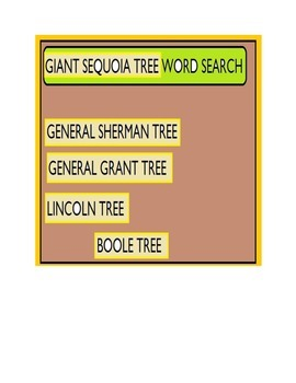 Giant Sequoia Tree Word Search