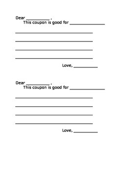 Gift Coupon for Mother's Day Father's Day