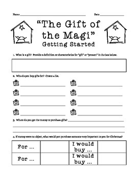 Gift of the Magi: Pre-Reading Activity