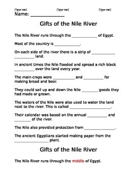 Gifts of the Nile River