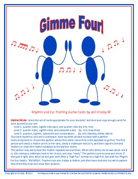 Gimme Four!  Rhythm Literacy and Ear Training Game