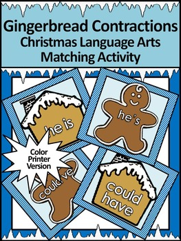 Gingerbread Activities: Gingerbread Contractions Christmas