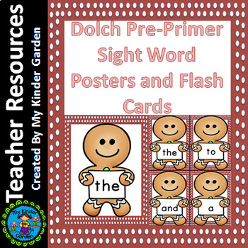 Gingerbread Boy Dolch Pre-Primer Sight Word Posters and Fl