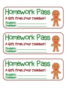"""Gingerbread Boy"" Homework Pass –Holiday FUN! (full color"