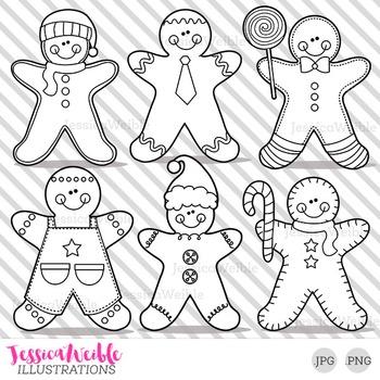 Gingerbread Boys Cute Digital B&W Stamps, Gingerbread Line