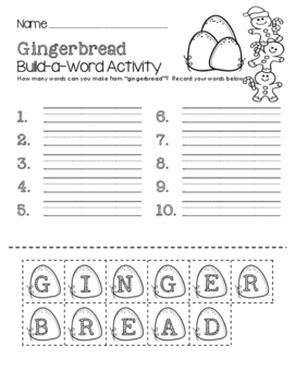 Gingerbread Build-a-Word Activity