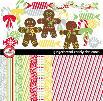 Gingerbread Candy Christmas Clipart and Digital Paper Set