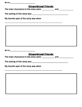 Gingerbread Friends Reading Response
