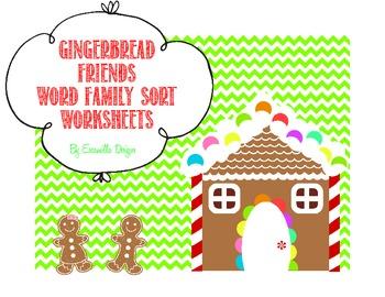 Gingerbread Friends Word Family FREEBIE