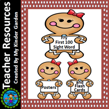 Gingerbread Girl Fry First 100 Sight Word Posters and Flashcards