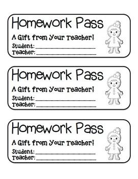 """Gingerbread Girl"" Homework Pass –Holiday FUN! (black line"