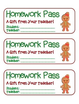 """Gingerbread Girl"" Homework Pass –Holiday FUN! (full color"
