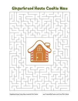 """Gingerbread House Cookie"" Maze! Holiday FUN! (Color and B"