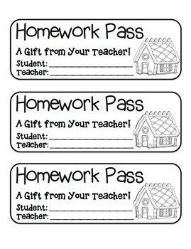 """Gingerbread House"" Homework Pass –Holiday FUN! (black lin"