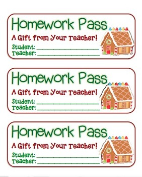 """Gingerbread House"" Homework Pass –Holiday FUN! (full colo"