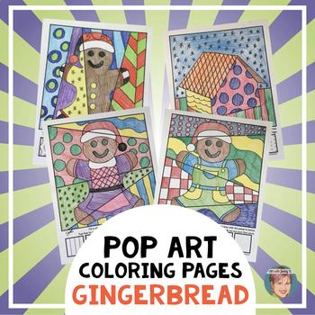 "Gingerbread Man Activities ""Pop Art"" Coloring Sheets - Gre"