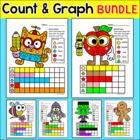 Graphing Shapes Bundle for Spring Activities, Easter, Summer & 8 More Themes