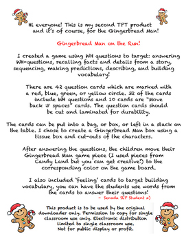 Gingerbread Man Game Board - WH questions, Story Recall, P