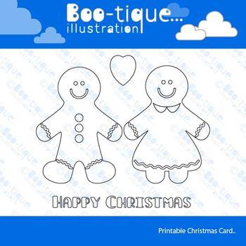 Gingerbread Man Line Art Card Printable. Christmas Colouri