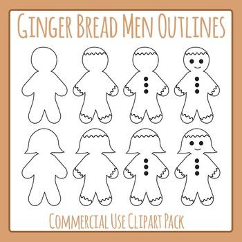 Gingerbread Man / Men Outlines Clip Art for Commercial Use