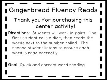 Gingerbread Man Roll and Read Fluency