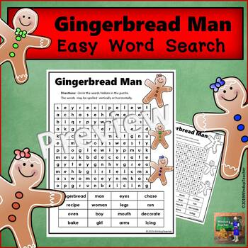 Gingerbread Man Word Search - Easy