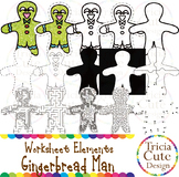 Gingerbread Clip Art Worksheet Elements for Tracing Cuttin