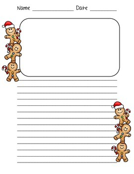 Gingerbread Man Writing Paper with Lines for Primary and E