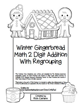 """""""Gingerbread Math"""" 2 Digit Addition With Regrouping - Comm"""
