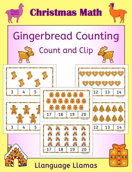 Christmas Count and Clip Task Cards for Math Center - Cute